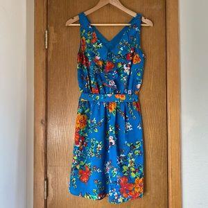 EXPRESS • Tropical Floral Dress w Ruffle & Pockets